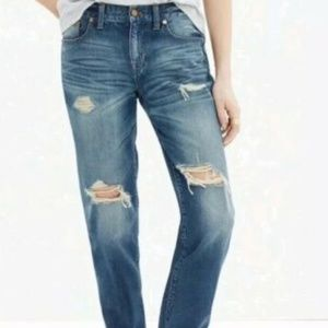 Madewell Boyjean Jeans Distressed Mid Wash